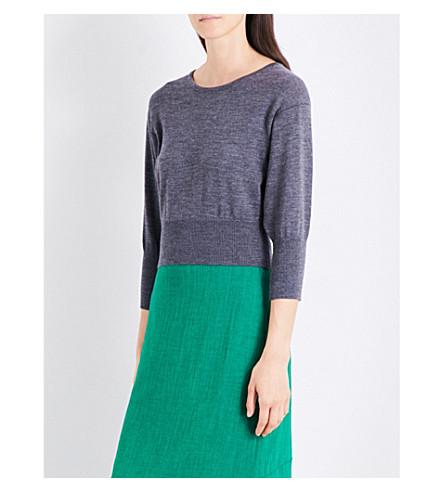 DIANE VON FURSTENBERG Cropped wool-blend jumper (Ash+melange