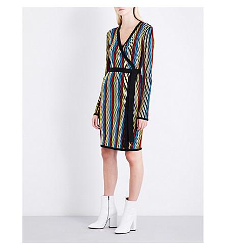 DIANE VON FURSTENBERG Knitted wool-blend wrap dress (Bodin+stripe+multi