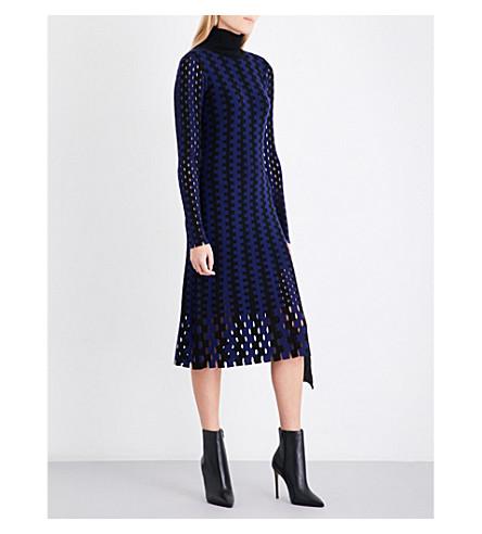 DIANE VON FURSTENBERG Turtleneck knitted midi dress (Black+deep+violet