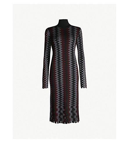 DIANE VON FURSTENBERG Turtleneck knitted midi dress (Cabernet+multi