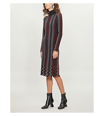 DIANE VON FURSTENBERG Turtleneck knitted midi dress (Cabernet+multi