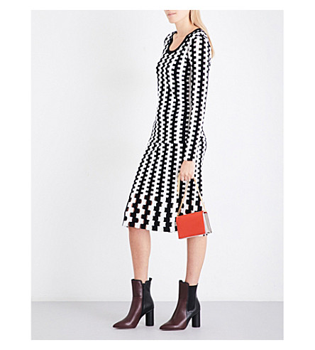 DIANE VON FURSTENBERG Flared intarsia wool skirt (Black+ivory