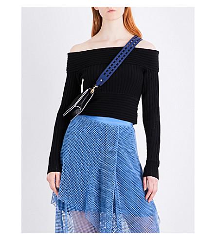 DIANE VON FURSTENBERG Off-the-shoulder knitted cropped top (Black