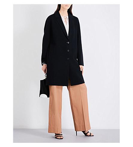 DIANE VON FURSTENBERG Oversized waffle-knit wool-blend coat (Black