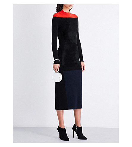 DIANE VON FURSTENBERG Contrast-panel fitted wool-blend dress (Bright+red+combo