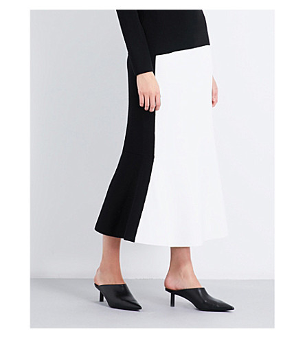 DIANE VON FURSTENBERG Colourblock knitted midi skirt (Ivory+black