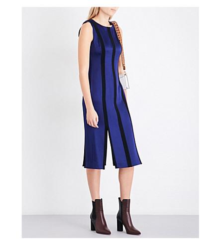 DIANE VON FURSTENBERG Tailored panelled satin midi dress (Deep+violet+bblack