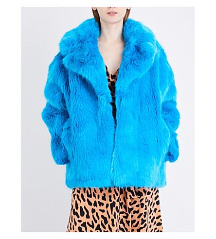 DIANE VON FURSTENBERG Oversized faux-fur coat (Cerulean