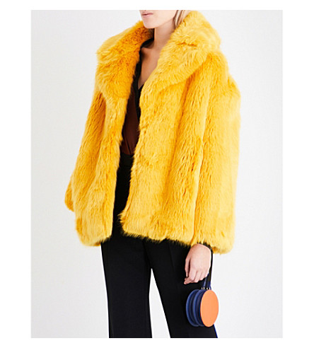 DIANE VON FURSTENBERG Oversized faux-fur coat (Yellow