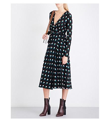 DIANE VON FURSTENBERG 印花丝绸-泽西和丝绸绉裹连衣裙 (卡西米尔 + 黑点 + 黑色
