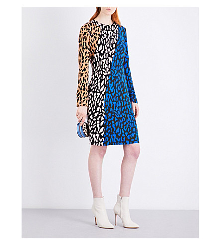 DIANE VON FURSTENBERG Panelled bias crepe mini dress (Belmont+wellington