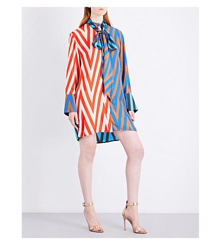 DIANE VON FURSTENBERG Oversized silk-twill shirt dress (Odeon+chevron+soft+pink