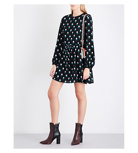DIANE VON FURSTENBERG Printed silk-crepe de chine mini dress (Casimir+dot+black