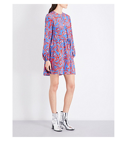 DIANE VON FURSTENBERG Elsden-print relaxed-fit silk-crepe de chine mini dress (Elsden+denim