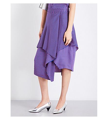 DIANE VON FURSTENBERG Striped ruffled high-rise stretch-silk skirt (Elba+royal