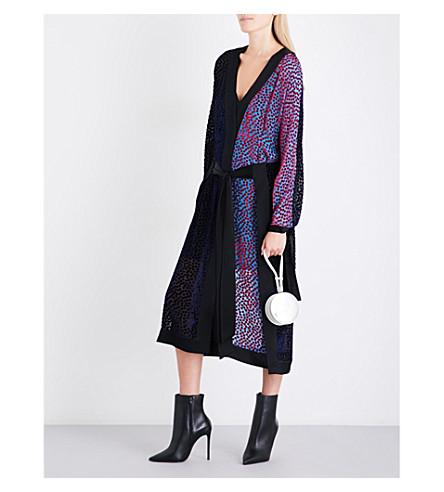DIANE VON FURSTENBERG 和服天鹅绒 devoré连衣裙 (深 + 紫 + 多