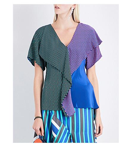 DIANE VON FURSTENBERG Ruffled stretch-silk top (Elba+black+/+elba+royal