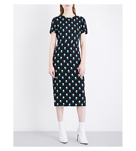 DIANE VON FURSTENBERG Printed crepe midi dress (Casimir+dot+black