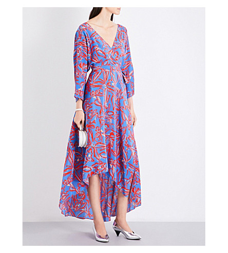 DIANE VON FURSTENBERG Elsden-print self-tie silk-crepe de chine midi dress (Elsden+denim