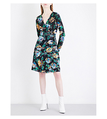 DIANE VON FURSTENBERG Printed silk-jersey and silk-crepe wrap dress (Benton+black