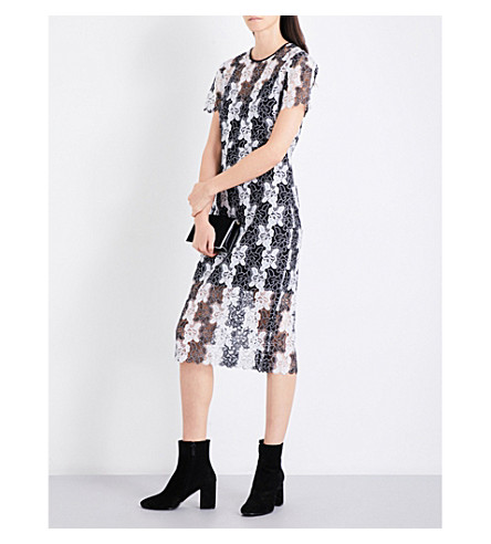 DIANE VON FURSTENBERG Two-tone floral lace dress (Black+white+black