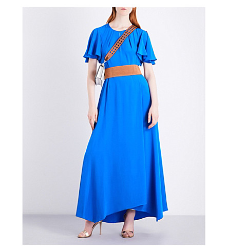 DIANE VON FURSTENBERG Flutter Sleeve silk maxi dress (Bright+blue