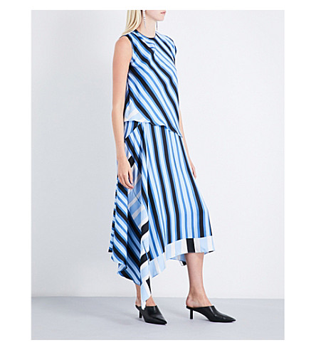 DIANE VON FURSTENBERG Striped silk-twill midi dress (Saxon+stripe+powder