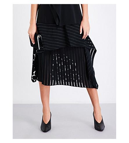 DIANE VON FURSTENBERG Striped ruffled high-rise fil-coupé skirt (Black