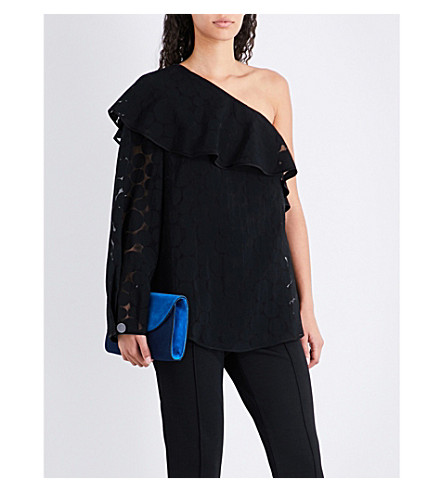 DIANE VON FURSTENBERG Frilled one-shoulder devoré top (Black