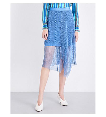 DIANE VON FURSTENBERG Asymmetric ruffled mesh midi skirt (Denim