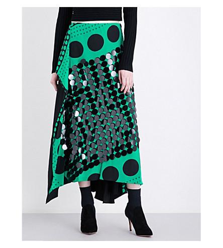 DIANE VON FURSTENBERG Paillette-embellished spotted high-rise silk skirt (Brunel+evergreen+black