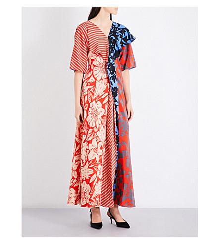 DIANE VON FURSTENBERG Contrast-panel silk-crepe maxi dress (Brulon+denim+brulon+aqua