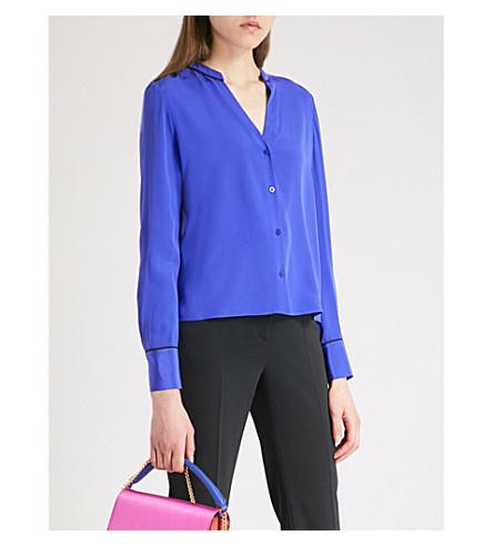 DIANE VON FURSTENBERG Band-collar silk shirt (Electric+blue