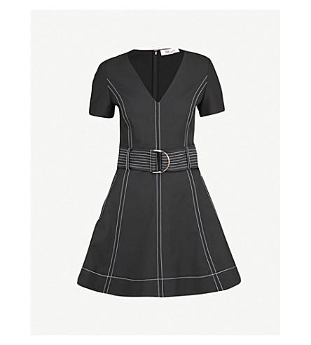 DIANE VON FURSTENBERG Belted stretch-denim mini dress (Black