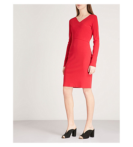 DIANE VON FURSTENBERG V-neck fitted knitted dress (Lipstick