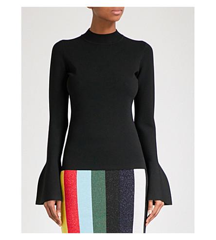 DIANE VON FURSTENBERG Flutter-sleeve knitted jumper (Black
