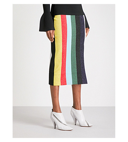 DIANE VON FURSTENBERG Striped metallic-knit pencil skirt (Orchard+multi