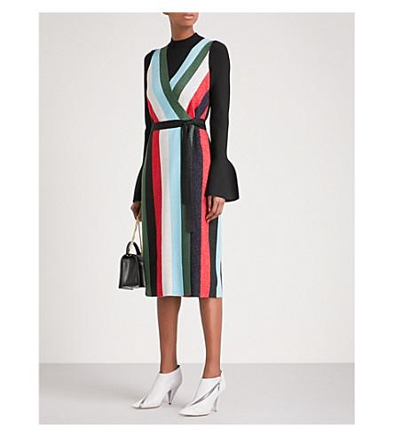 DIANE VON FURSTENBERG Striped metallic-knit sleeveless wool wrap dress (Marine+multi