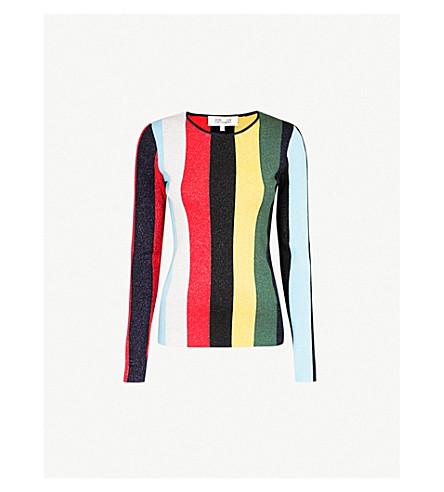 DIANE VON FURSTENBERG Striped metallic-knit sweater (Orchard multi