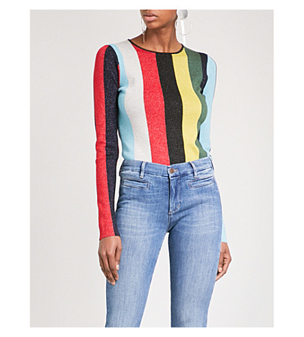 DIANE VON FURSTENBERG Striped metallic-knit jumper (Orchard+multi