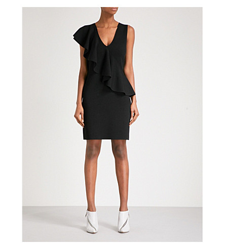 DIANE VON FURSTENBERG Ruffled knitted mini dress (Black