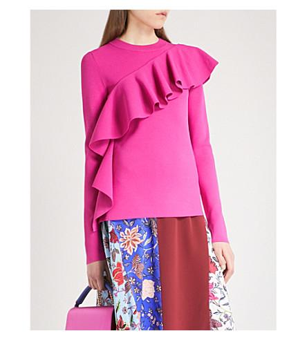 DIANE VON FURSTENBERG Ruffle-detail knitted jumper (Ribbon+pink