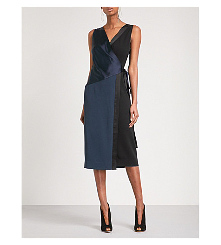 DIANE VON FURSTENBERG Crossover satin and crepe midi dress (Alexander+navy+black