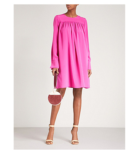 DIANE VON FURSTENBERG Pleated silk dress (Ribbon+pink