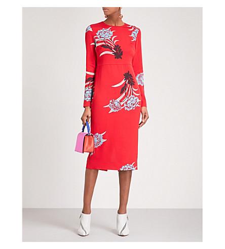 DIANE VON FURSTENBERG Floral-print crepe midi dress (Farren+lipstick