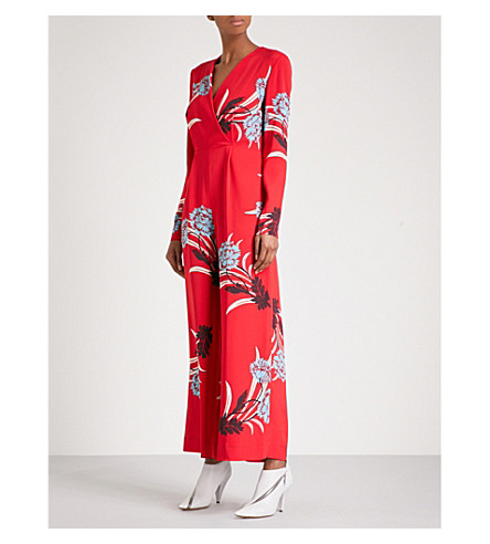 DIANE VON FURSTENBERG Floral-print V-neck crepe jumpsuit (Farren+lipstick