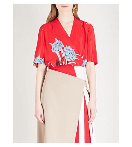 DIANE VON FURSTENBERG Floral-print silk top (Farren+lipstick