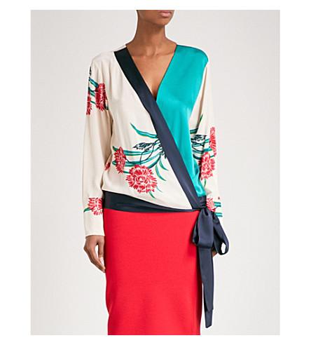 DIANE VON FURSTENBERG V-neck silk and satin wrap blouse (Farren+pearl+navy+jade