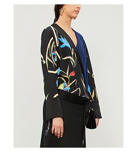 DIANE VON FURSTENBERG V-neck silk and satin wrap blouse (Oswald+black