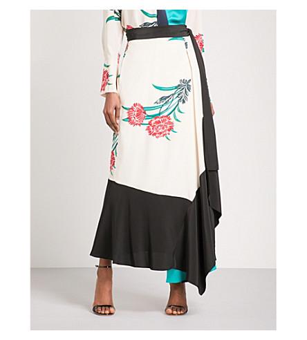 DIANE VON FURSTENBERG Draped silk and satin wrap skirt (Farren+pearl+black+jade